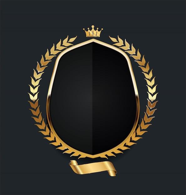 Bouclier d'or avec une couronne de laurier d'or Vecteur Premium