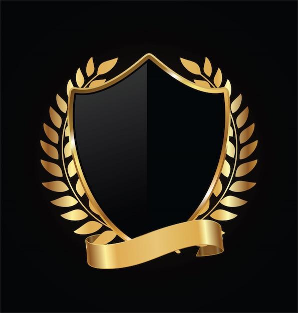 Bouclier or et noir avec des lauriers d'or Vecteur Premium