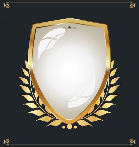 Bouclier d'or Vecteur Premium