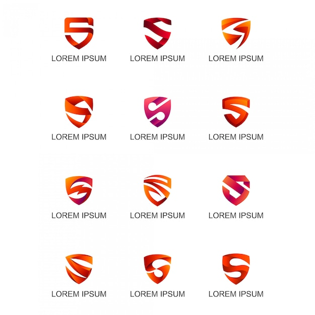 Bouclier rouge avec logo de la lettre Vecteur Premium