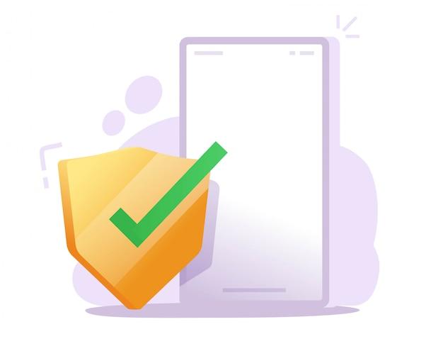 Bouclier De Sécurité Sur La Garde De Téléphone Mobile En Ligne Pour La Protection Contre Les Attaques De Virus Web Internet Vecteur Premium