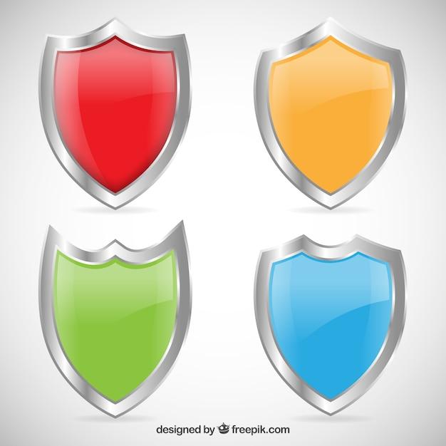 Boucliers Colorées Vecteur Premium