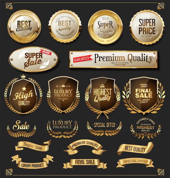 Boucliers et étiquettes de rubans d'or rétro vector collection Vecteur Premium