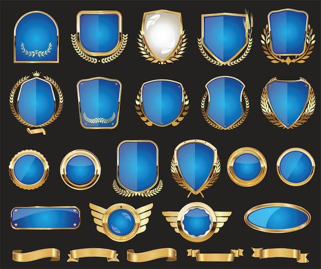 Boucliers D'or Insigne De Couronne De Laurier Et étiquettes Collection De Design Rétro Vecteur Premium