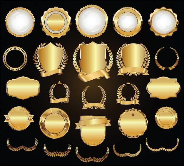 Boucliers D'or Lauriers Couronnes Et Insignes Vector Collection Vecteur Premium