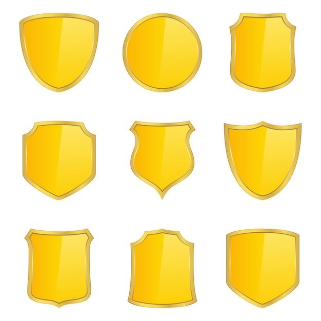 Boucliers d'or Vecteur Premium