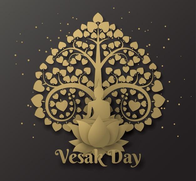 Bouddha sur lotus fond de bonne journée de vesak avec arbre bodhi Vecteur Premium