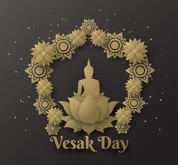 Bouddha sur lotus fond de bonne journée de vesak avec feuille de lotus Vecteur Premium