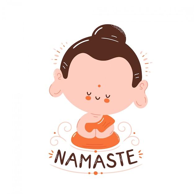 Bouddha souriant heureux mignon méditer en posture de lotus. namaste carte. isolé sur blanc conception de dessin vectoriel personnage illustration, style plat simple. petit bouddha en lotus, concept namaste Vecteur Premium