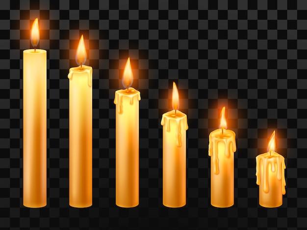 Bougie allumée. brûler des bougies d'église, un feu de cire et une bougie de noël isolé des objets réalistes Vecteur Premium