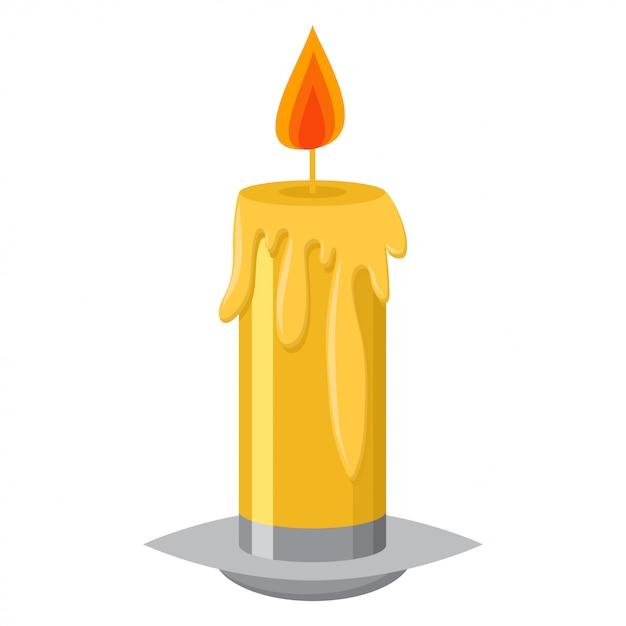 Bougie à la flamme dans un chandelier et illustration de dessin animé de vecteur de cire fondante isolé Vecteur Premium
