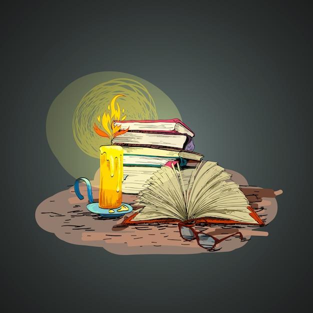 Bougie livre main dessin illustration Vecteur gratuit