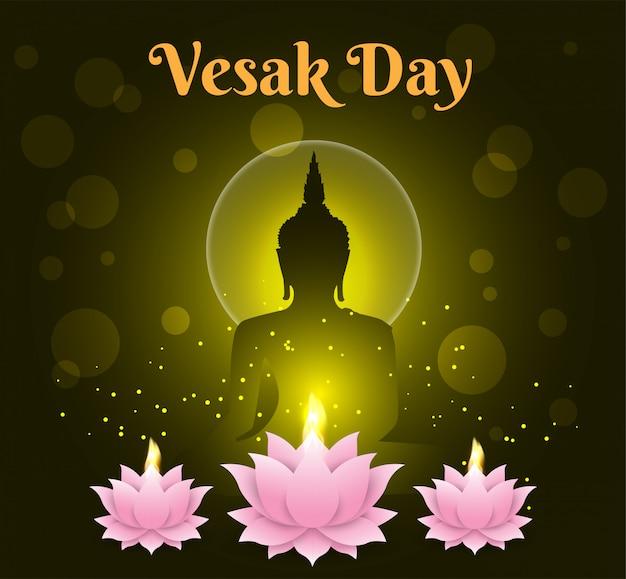 Bougie de lotus fond de jour de vesak heureux bouddha sur fond noir Vecteur Premium