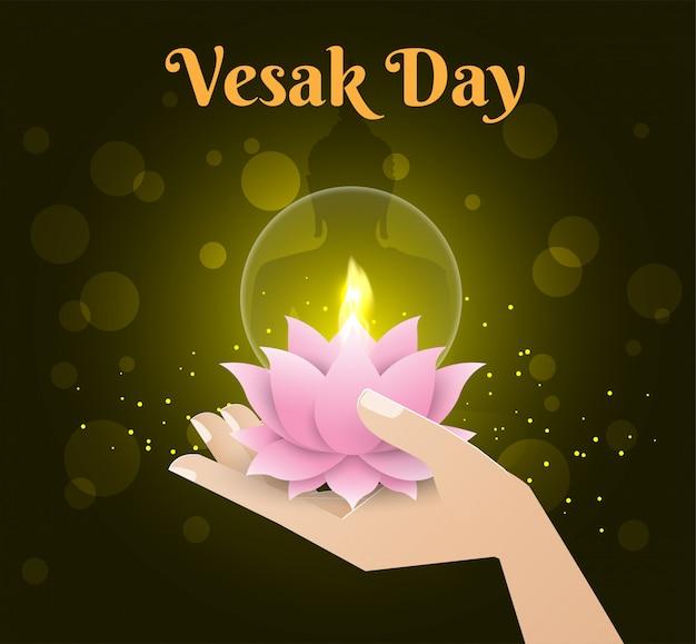 Bougie lotus à la main fond de bonne journée de vesak Vecteur Premium