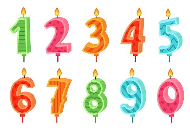 Bougie De Numéros Anniversaire Dessin Animé. Bougies De Gâteau De Célébration Brûlant Des Lumières, Numéro D'anniversaire Et Ensemble De Bougies De Fête Vecteur Premium