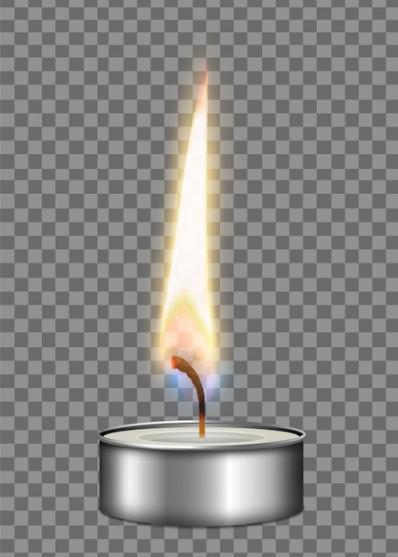 Bougie Réaliste Colorée Boîtier En Métal Flamme Feu Composition Lumineuse Sur Fond Transparent Illustration Vecteur gratuit