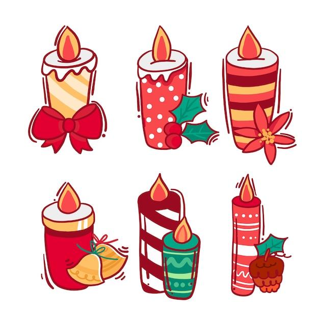 Des Bougies Allumées Pour Les Fêtes De Noël Vecteur gratuit