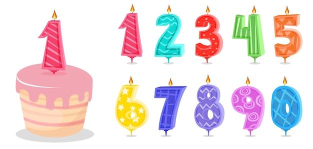 Bougies D'anniversaire De Dessin Animé Et Bougie De Numéros D'anniversaire Vecteur Premium