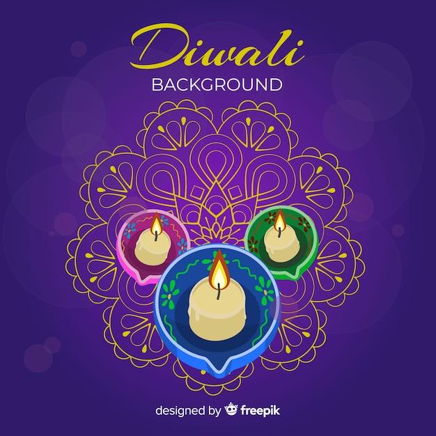 Bougies réalistes fond de diwali Vecteur gratuit
