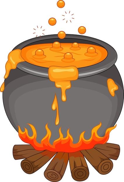 Bouillir de la potion sur la cheminée Vecteur Premium