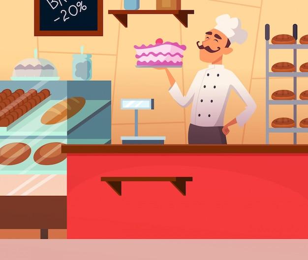 Boulanger au travail Vecteur Premium
