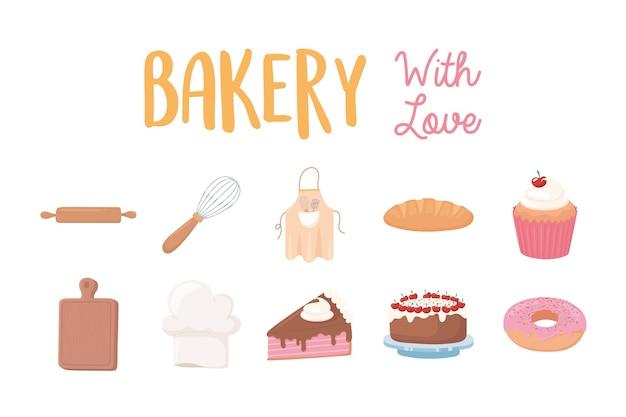 Boulangerie Avec Amour Icônes Beignet Gâteau Cupcake Pain Et Ustensiles Illustration Vecteur Premium