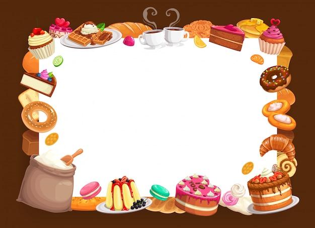 Boulangerie Boulangerie Pâtisserie Et Desserts Cadre Vecteur Premium