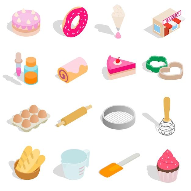 Boulangerie définie des icônes dans un style 3d isométrique isolé sur fond blanc Vecteur Premium