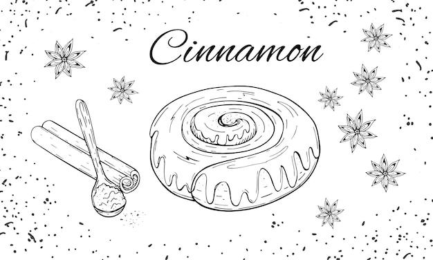 Boulangerie dessiné à la main sertie de brioche à la cannelle Vecteur Premium