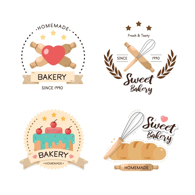 Boulangerie D'étiquette Alimentaire, Boulangerie Sucrée, Dessert, Magasin De Bonbons - Modèle De Conception. Vecteur Premium