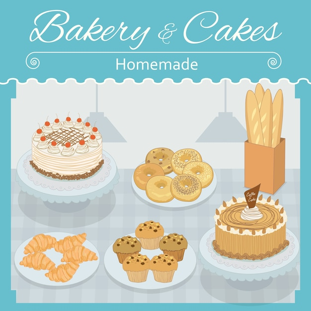 Boulangerie et gâteaux Vecteur Premium