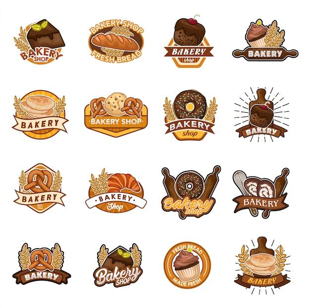 Boulangerie magasin logo vector ensemble Vecteur Premium
