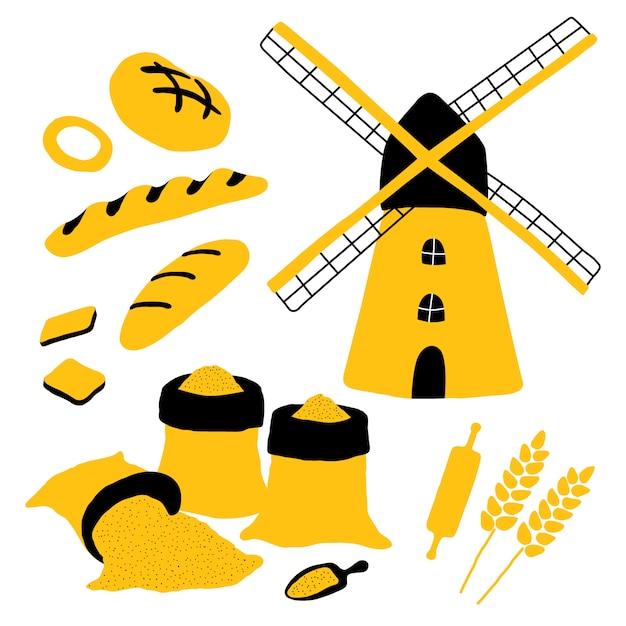 Boulangerie Avec Pain, Moulin, Farine, Blé, Pain, Baguette, Rouleau à Pâtisserie. Vecteur Premium