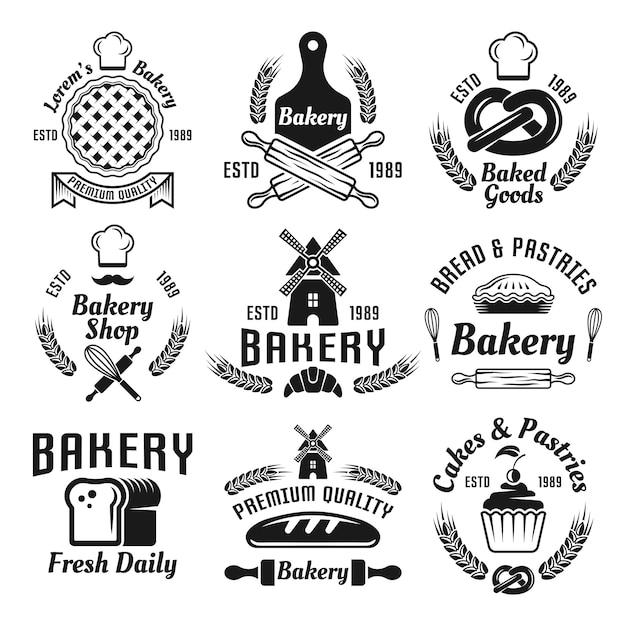 Boulangerie Et Pâtisseries Ensemble D'étiquettes Monochromes De Vecteur, Badges, Emblèmes Isolés Sur Blanc Vecteur Premium