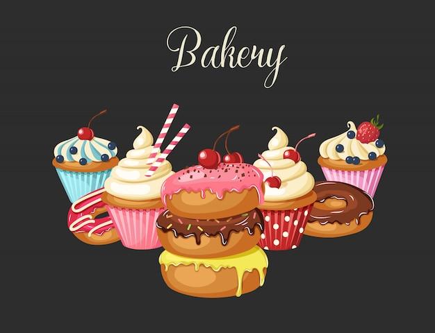 Boulangerie sucrée sur fond noir. beignets glacés, cheesecake et cupcakes Vecteur Premium