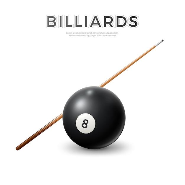 Boule De Billard Noir Réaliste Avec Bâton De Queue. Snooker De Vecteur, Symboles De La Piscine. Vecteur Premium