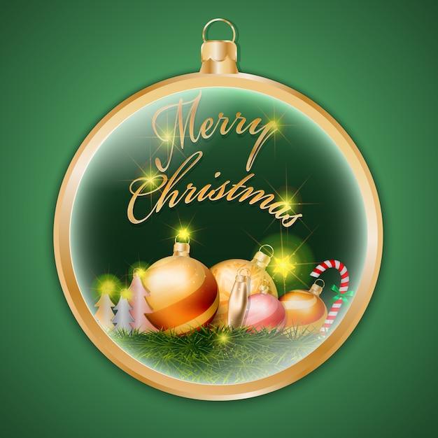 Image Brillante De Noel.Boule Brillante De Noel Or Sur Fond Vert Telecharger Des