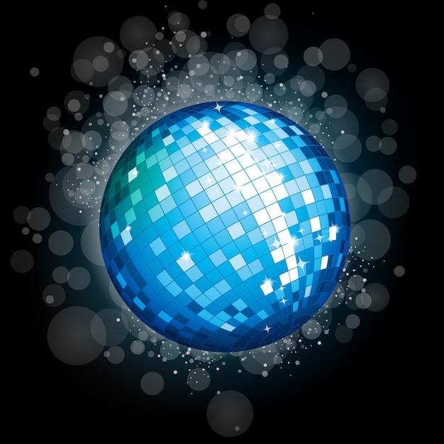 Boule disco bleue Vecteur Premium