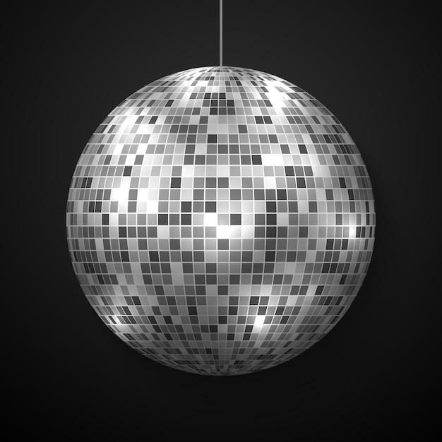 Boule disco miroir isolée. Vecteur Premium