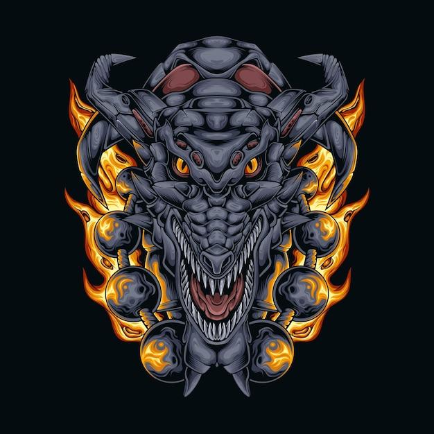 Boule De Feu Tête De Dragon Vecteur Premium