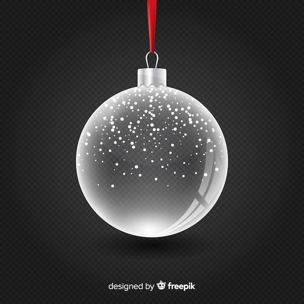 Vecteur Gratuite | Boule De Noël En Cristal Transparent