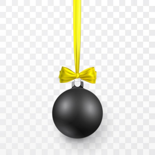 Boule De Noël Noire Avec Noeud Jaune. Boule De Verre De Noël Sur Fond Transparent. Modèle De Décoration De Vacances. Vecteur Premium