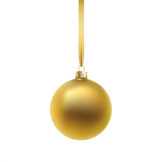 Boule De Noël Or, Sur Fond Blanc. Vecteur Premium