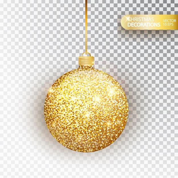 Boule de noël paillettes d'or paillettes d'or isolé sur blanc. texture de paillettes scintillantes, décoration de vacances bas de noël décorations. boule suspendue en or. Vecteur Premium