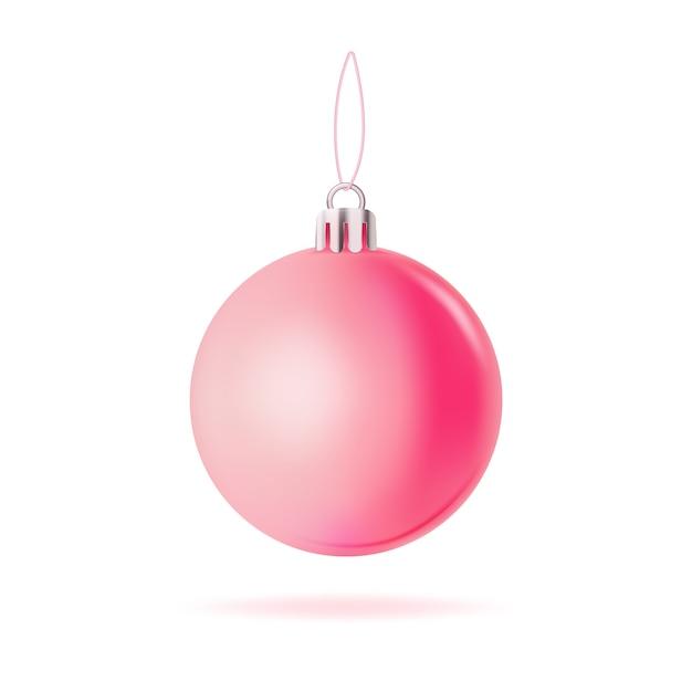 Vecteur Premium | Boule De Noël Rose Isolée On White