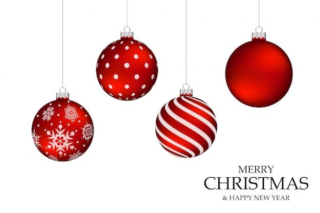 Boule De Noël Rouge Sur Le Fond Noir Blanc | Vecteur Premium