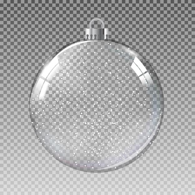Boule De Noël En Verre Transparent Avec Neige Vecteur Premium
