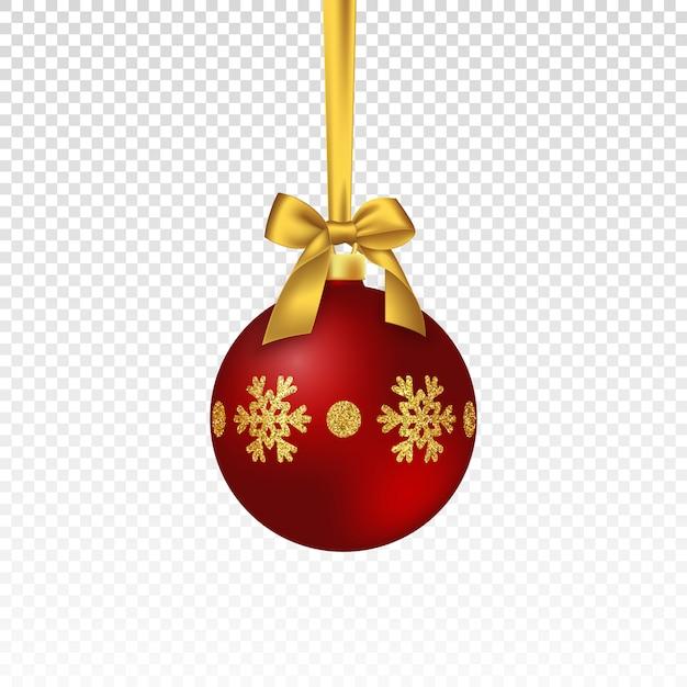 Boule Rouge De Noël Réaliste. Vecteur Premium
