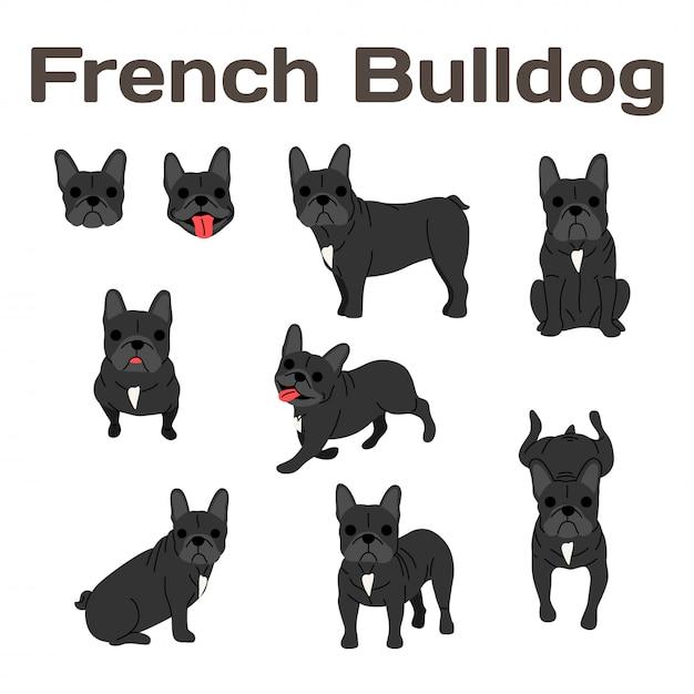 Bouledogue français en action, chien heureux Vecteur Premium
