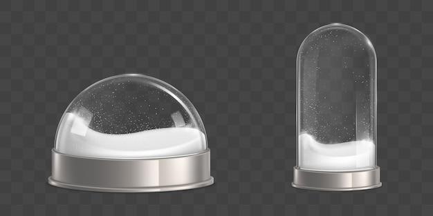Boules de neige vides avec vecteur réaliste de flocons de neige Vecteur gratuit